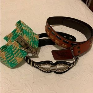3 ladies belts- 2 leather & 1 paper and metal